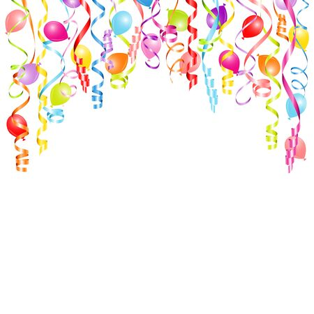 Square Background Colorful Streamers And Balloons Horizontal Stock fotó - 136143355