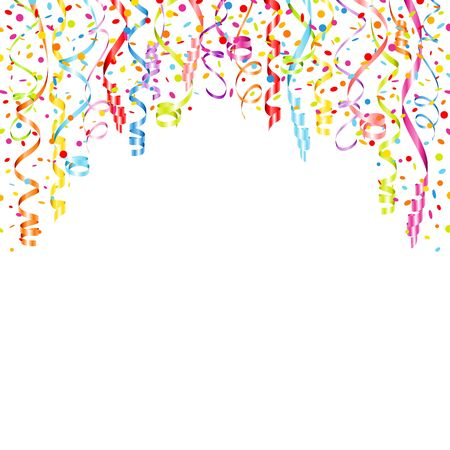 Background Colorful Hanging Streamers And Falling Confetti Horizontal