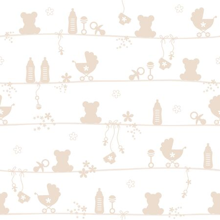 Seamless Pattern Baby Teddy And Icons Silhouette Beige Vettoriali