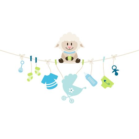 Sheep Sitting On String Curve With Hanging Baby Icons Boy