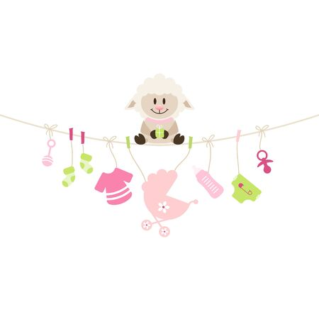 Sheep Sitting On String Curve With Hanging Baby Icons Girl Vettoriali