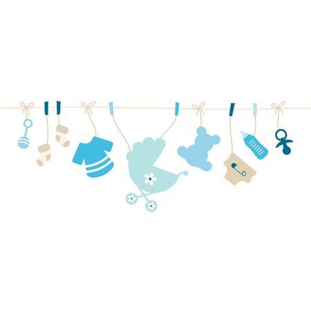 Hangende Baby Icons Jongens String Blauw En Beige Vector Illustratie