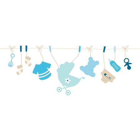 Hanging Baby Icons Boy String Blue And Beige Vettoriali