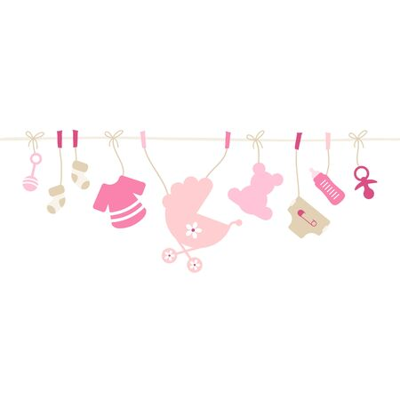 Hanging Baby Icons Girl String Pink And Beige