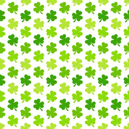 Seamless Pattern Shamrocks Three Leafs Green And White Vettoriali