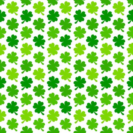Seamless Pattern Shamrocks Four Leafs Green And White
