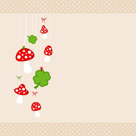 Left Hanging Fly Agarics And Shamrocks Dots Border Beige