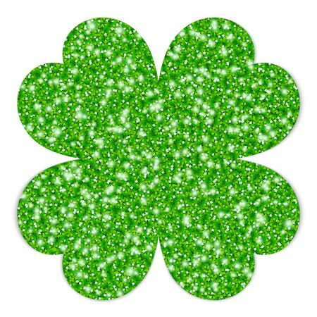 Single Green Straight Graphic Shamrock Filled Glitter Vettoriali
