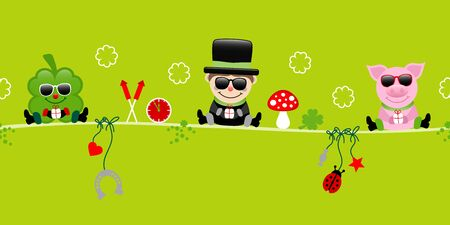 Shamrock Chimney Sweep And Pig With Sunglasses Hanging Icons New Years Eve Green Vettoriali