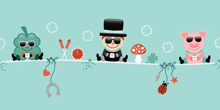 Shamrock Chimney Sweep And Pig With Sunglasses Hanging Icons New Years Eve Turquoise