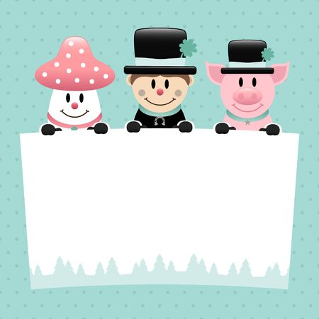 Fly Agaric Chimney Sweep And Pig With Label Dots Turquoise