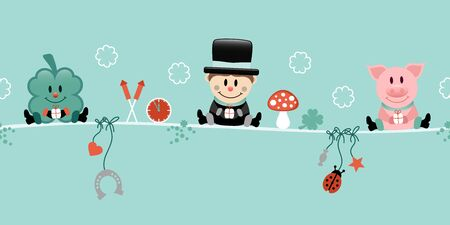Shamrock Chimney Sweep And Pig Hanging Icons New Years Eve Turquoise Stock fotó - 136143381