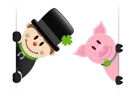 Big Chimney Sweep And Pig With Shamrock Looking Inside Banner Stock fotó - 136143387