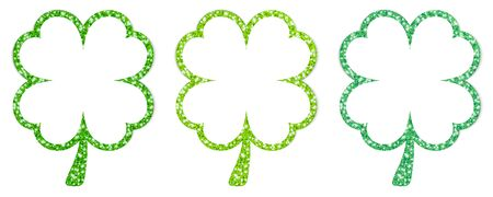 Set Of Three Straight Framed Shamrocks Sparkling Green Stock fotó - 136143390