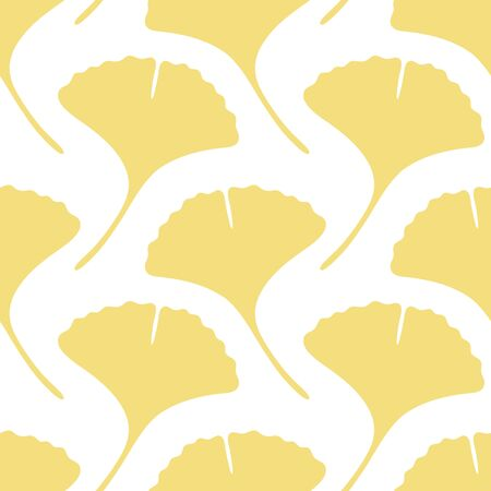 Seamless Pattern Big Yellow Gingko Leaves With Stem
