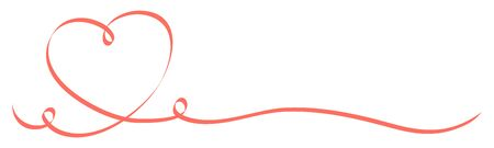 Calligraphy Light Red Heart With Two Swirls Ribbon