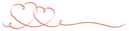 Two Connected Red Calligraphy Hearts Ribbon Banners