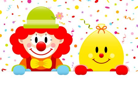 Red Hair Clown And Yellow Ballon Holding Banner Streamers Confetti