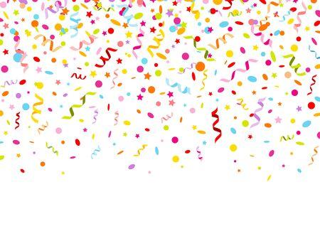 Banner horizontal gráfico colorido serpentinas confeti y estrellas
