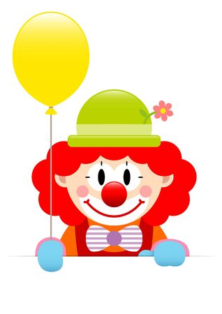 Red Hair Clown Holding Yellow Balloon And Horizontal Banner