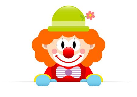 Clown With Orange Hair Holding Horizontal Banner