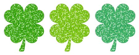 Set Of Three Straight Filled Shamrocks Sparkling Green