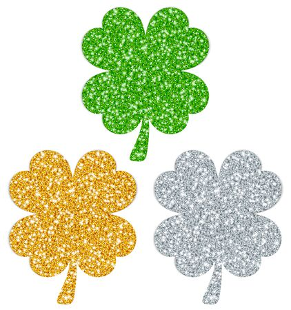 Set Of Three Straight Filled Shamrocks Sparkling Gold Silver Green
