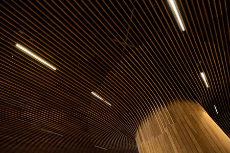 Ceiling in a modern luxurious building with vertical stripes and built-in light Stockfoto