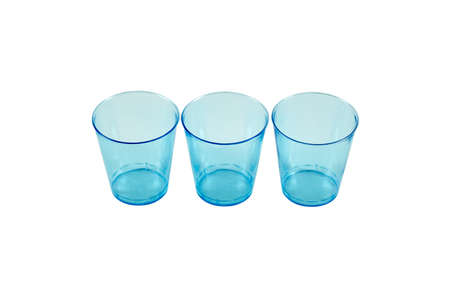 Close up of three blue glasses of recycled material. Caring for the environment. Stok Fotoğraf