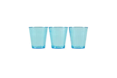 Isolated on white background photo of three blue glasses. Recycled material. Caring for the environment. Stok Fotoğraf