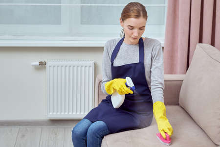A girl in gloves cleans upholstered furniture with a brush and household chemicals. Living room cleaning. Professional cleaner.
