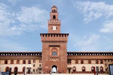 Castello Sforzesco during the day. Summer tours. Large fountain. Popular tourist destination in Milan. Milan Italy 08.2020