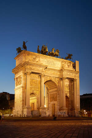 Milano city center arco della pace at sunset monument. Dark blue sky. A beautiful historical monument. Milan Italy 08.2020