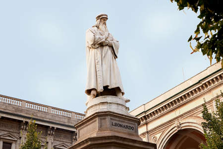 Beautiful famous monument to the great man Leonardo da Vinci. Blue sky. Milan Italy. 22.08.2020 Sajtókép