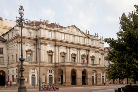 Teatro La Scala- famous opera house in Milan, Italy. Hot summer day. Tourist place.