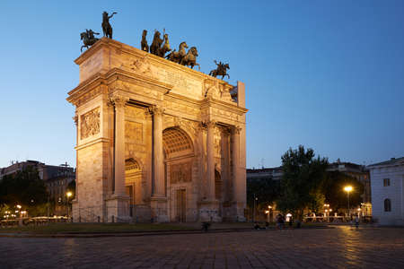 Arco della Pace. Night landscape. The arch was laid in honor of the victories of Napoleon I, but the construction was delayed. Emperor Franz I ordered the completion of the arch. Milan Italy 08.2020