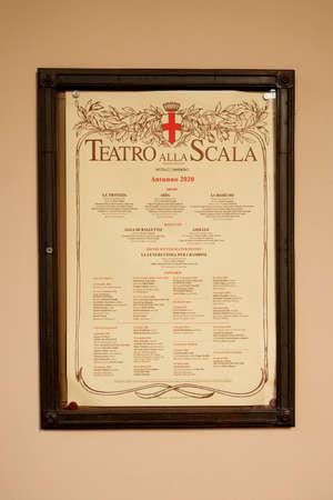 Poster of the Teatro alla Scala theater season. La Scala is an opera house originally known as the Nuovo Regio Ducale Teatro alla Scala. Milan Italy. 22.08.2020