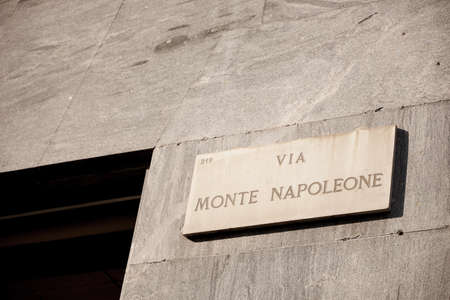 Marble plaque on the monument to the famous conqueror Napoleon. Milan Italy 08.2020