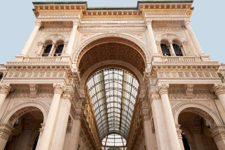 The Galleria Vittorio Emanuele II in Milan, Italy. 22.08.2020 Bottom view of the front arch of the Vittorio Emanuele Gallery in Milan, taken during the day. A beautiful historical site.