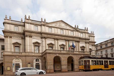 Facade of the famous tourist site Teatro La Scala Opera House in Milan. Milan Italy. 22.08.2020