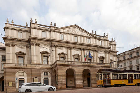 Facade of the famous tourist site Teatro La Scala Opera House in Milan. Milan Italy. 22.08.2020