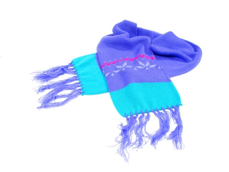 Childs winter scarf on a white background photo