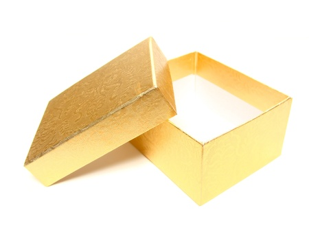 Opened empty gold gift box on a white background photo
