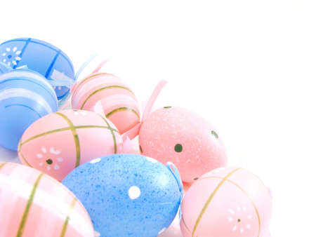 Pink and blue Easter egg corner border  photo