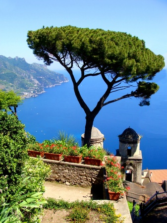 Amalfi Coast view from the cliffside town of Ravello, Italy  photo