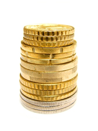 Stack of coins on a white background  photo