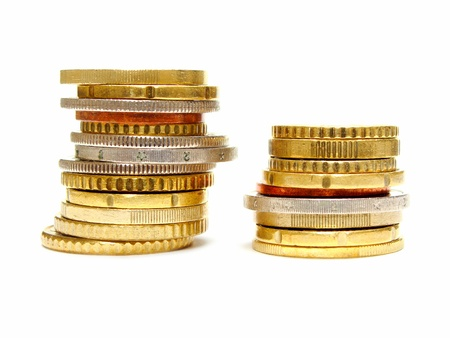 taller: Two stacks of coins: one short and one taller
