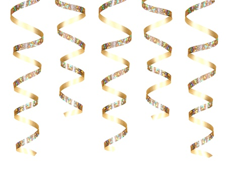 Hanging golden party ribbon Stock Photo - 9181709