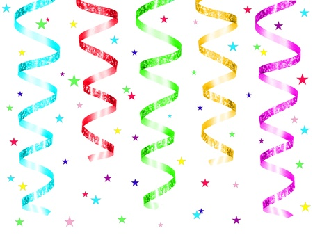 red glittery: Colorful party streamers and confetti  Stock Photo