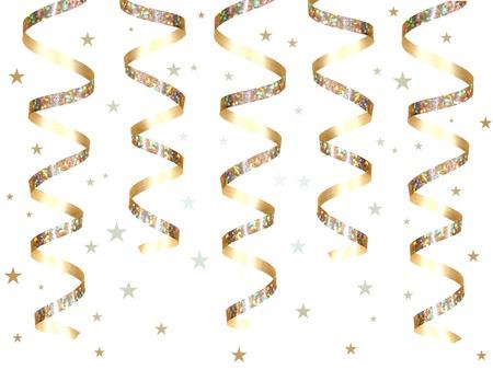 streamers: Colgar confeti y cinta de parte de oro